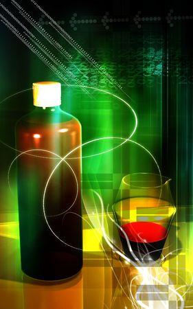 Medicine bottle and measuring vase   photo