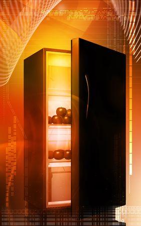 crisper: Fruits in a refrigerator