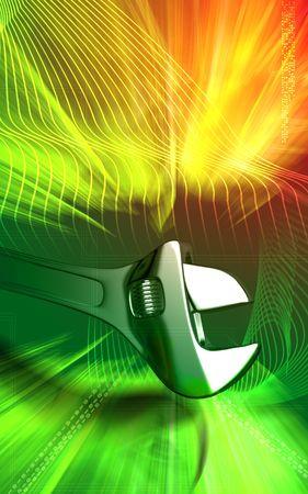 adjustable: Adjustable spanner Digital illustration of adjustable spanner