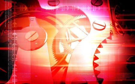Gears Digital illustration of  gears inside the wristwatch  illustration