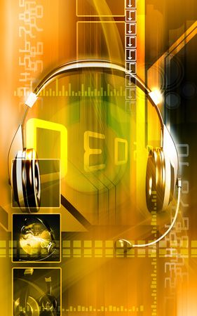 sonic: Headphone  Digital illustration of a  head phone