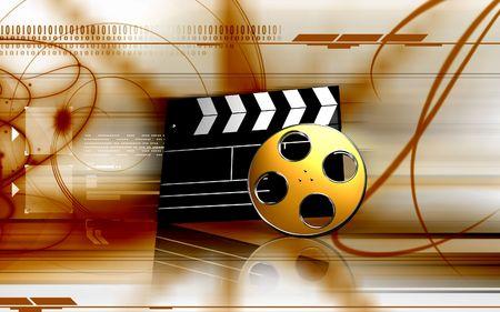 carrete de cine: Tablas de madera y rollo de pel�cula