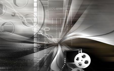 carrete de cine: Tablilla y carrete de pel�cula Foto de archivo