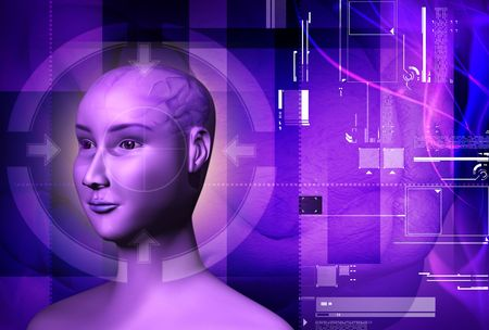 Digital illustration of a human brain  and  human body   illustration