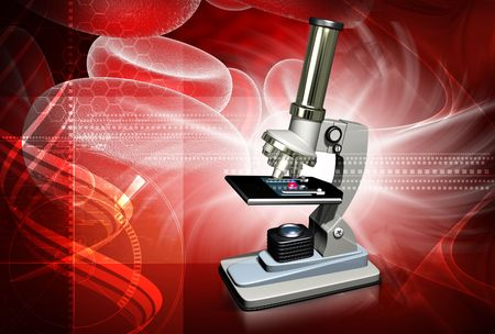 Digital illustration of microscope in colour background Stock Illustration - 5203027