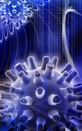 Digital illustration of Herpes Simplex Virus in colour Stock Illustration - 5203038