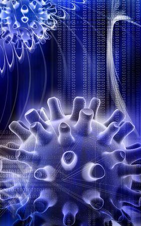 simplex: Digital illustration of Herpes Simplex Virus in colour
