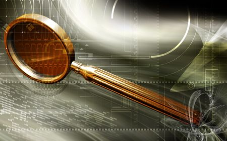 Digital illustration of a magnifying glass in colour  illustration