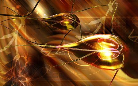 flagella: Digital illustration of a flagella bacterium in colour  Stock Photo