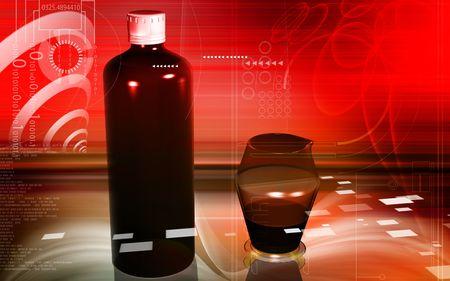 Digital illustration of medicine bottle and measuring vase illustration
