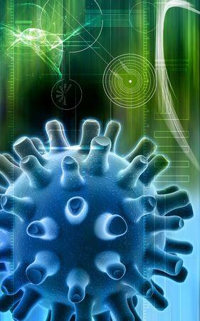 herpes simplex: Digital illustration of Herpes Simplex Virus in volour background