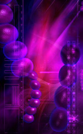 Digital illustration of streptococcus in colour background illustration