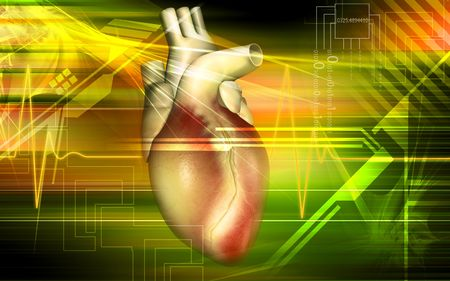 Digital illustration of a heart with eco cardio gram pulse  illustration
