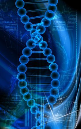 Digital illustration of a DNA model in blue background Stock Illustration - 5203060