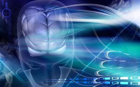 Digital illustration of brain in blue colour