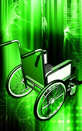 hinder: Digital illustration of wheel chair in colour background