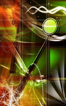 Digital illustration of tools of a dentist in colour background illustration