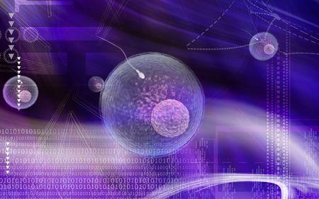 Digital illustration of sperm of human in color illustration