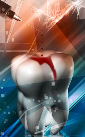 anaesthesia: Digital Illustration of a  syringe dropping blood drops for teeth