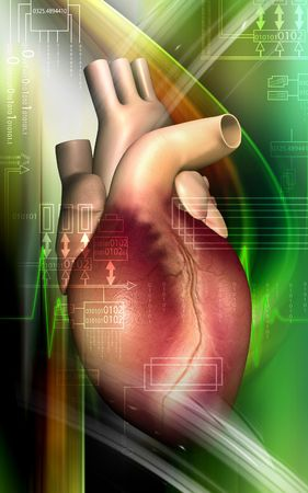 Digital illustration of a heart in colour background  illustration