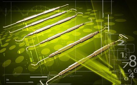 Digitale illustratie van gereedschap van een tandarts