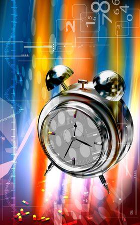 Digital illustration of a capsule with alarm clock  illustration