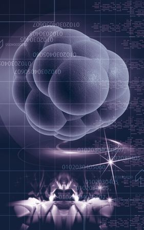 replenish: Digital illustration of stem cells in colour background  Stock Photo