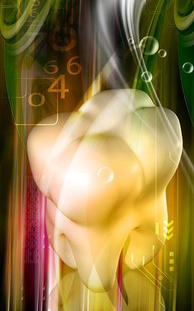 Digital illustration of teeth in  colour background Stock Illustration - 5212417