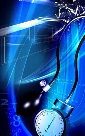Digital illustration of a sphygmomanometer in colour Stock Illustration - 5212460