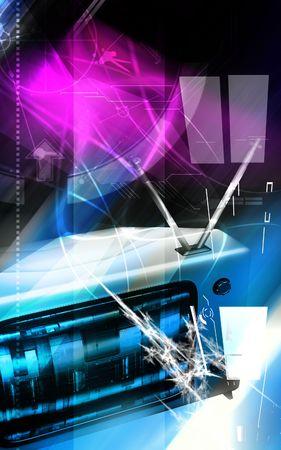 Digital illustration of a television monitor in light   illustration