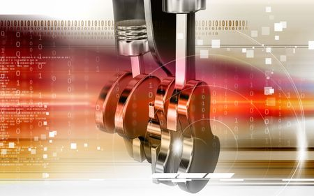 Digital illustration of pistons working in a five stroke engine Stock Photo