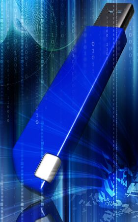 pen drive: Digital illustration of a pen drive  in blue colour  Stock Photo