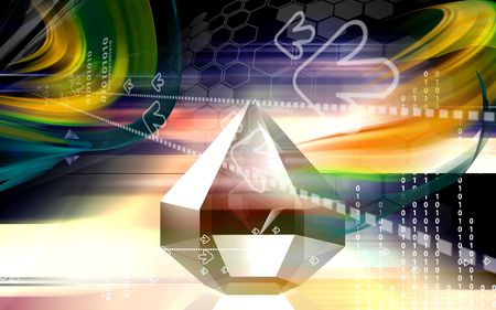 refraction: Digital illustration of refraction in a diamond  Stock Photo