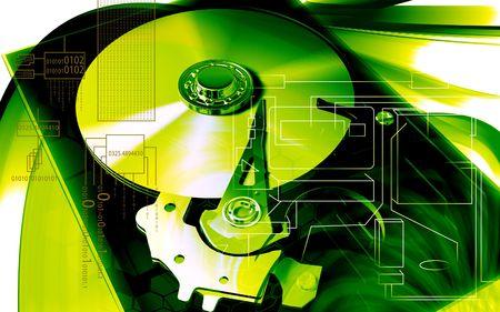 compact disc: Digital illustration of compact disc reader in colour background