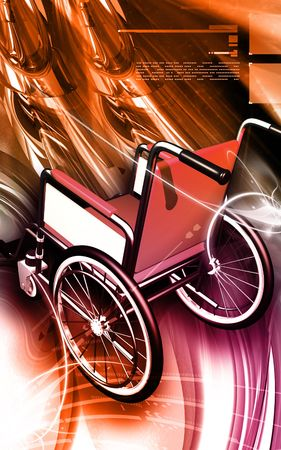 hinder: Digital Illustration of  wheel chair in colour background   Stock Photo