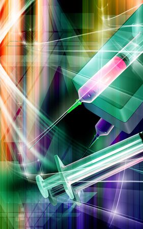 anaesthesia: Digital illustration of a syringe in colour background