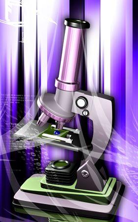 haemoglobin: Digital illustration of microscope in colour background  Stock Photo