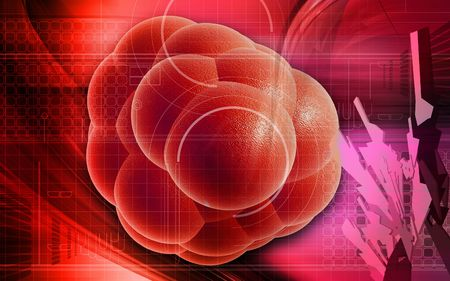 red cells: Digital illustration of stem cells in colour background   Stock Photo