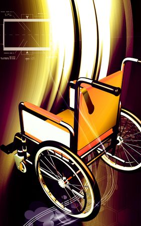 hinder: Digital illustration of wheel chair  in colour backgroud