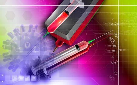 anaesthesia: Digital illustration of a syringe and box