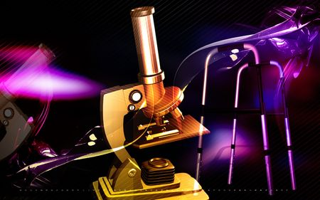 Digital illustration of microscope and handicap in colour background illustration