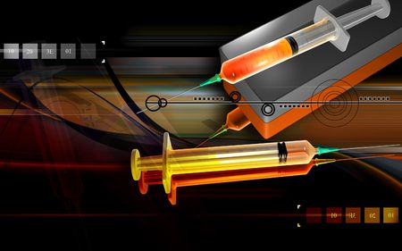 anaesthesia: Digital illustration of a syringe and box