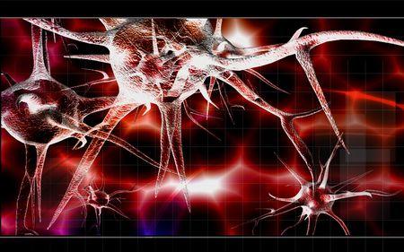 Digital illustration of Neuron with colour background  illustration