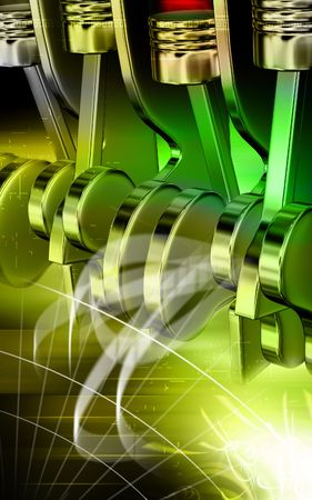 cam gear: Digital illustration of pistons working in a five stroke engine Stock Photo