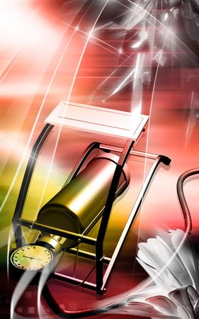Digital illustration of  air pump with  pedal   illustration