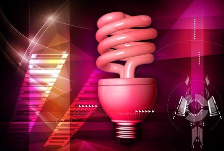 cfl: Digital illustration of spiral shape CFL lamp