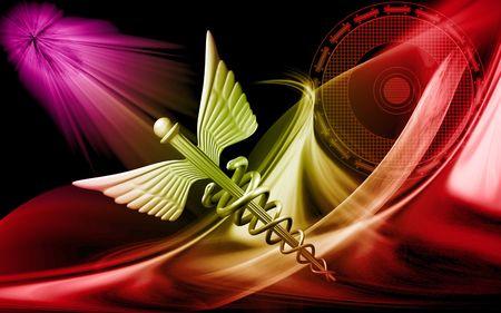 Digital illustration of a medical symbol in colour background illustration