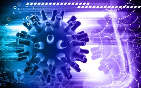 herpes simplex: Digital illustration of Herpes Simplex Virus in colour background Stock Photo