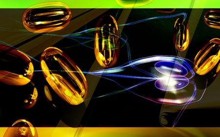 flagella: Digital illustration of a capsules and flagella bacteria