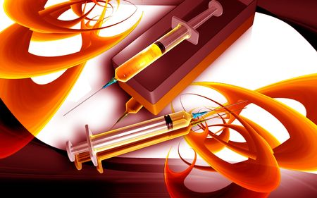anaesthesia: Digital illustration of a Syringe and box in colour background Stock Photo